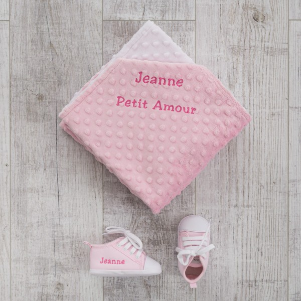 Minky Blanket & Baby shoes, Pink